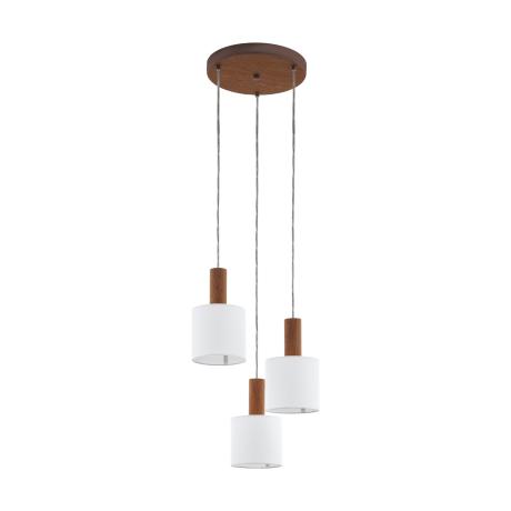 Kaskádovité závěsné osvětlení se třemi bílými textilními stínítky CONCESSA 3 97678