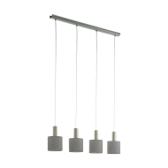 Závěsné osvětlení se čtyřmi šedými textilními stínítky CONCESSA 2 97674