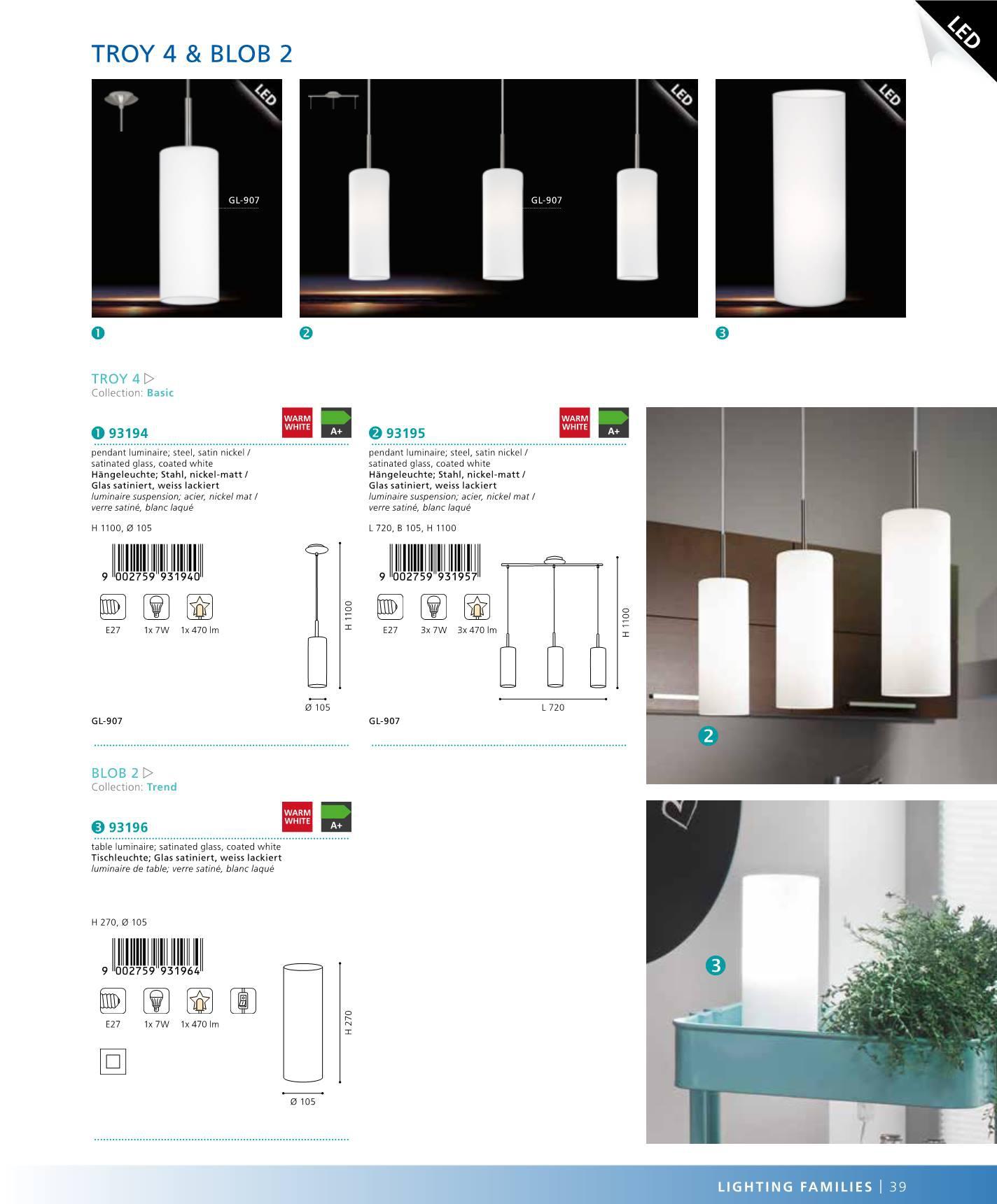 z v sn osv tlen troy 4 eglo 93195. Black Bedroom Furniture Sets. Home Design Ideas