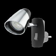 LED světlo do zásuvky - černá/chrom MONCALVIO 96845