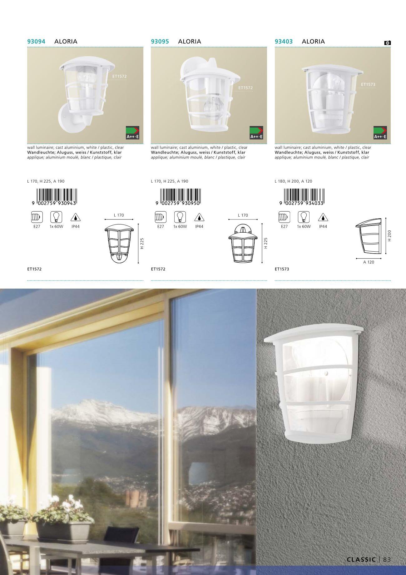 venkovn lampa b l aloria eglo 93095. Black Bedroom Furniture Sets. Home Design Ideas
