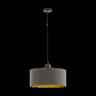 Lustr na lanku s kapučínovo-zlatým textilním stínítkem CONCESSA 1 97683