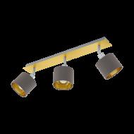 Bodové svítidlo se třemi textilními stínítky, kapučíno/zlatá VALBIANO 97538