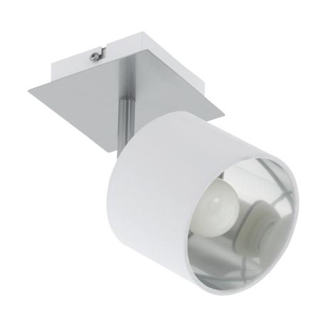 Nástěnná/stropní bodovka s textilním stínítkem, bílá/stříbrná VALBIANO 97532