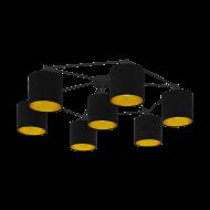 Přisazený lustr s černo-zlatými textilními stínítky STAITI 97895