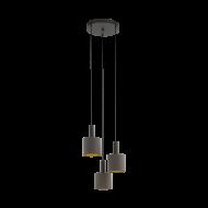 Kaskádovité závěsné osvětlení se třemi textilními stínítky v barevné kombinaci kapučíno/zlatá CONCESSA 1 97684