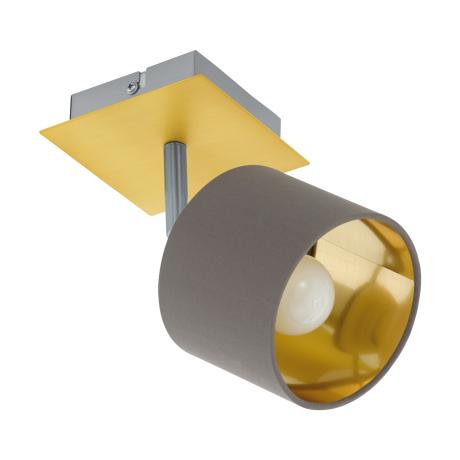 Nástěnná/stropní bodovka s textilním stínítkem, kapučíno/zlatá VALBIANO 97536
