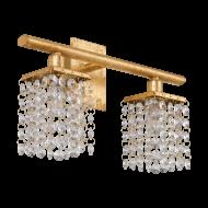 Nástěnné osvětlení se dvěma stínítky z křišťálů PYTON GOLD 97724