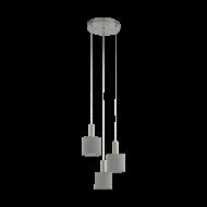Kaskádovité závěsné osvětlení se třemi šedými textilními stínítky CONCESSA 2 97673